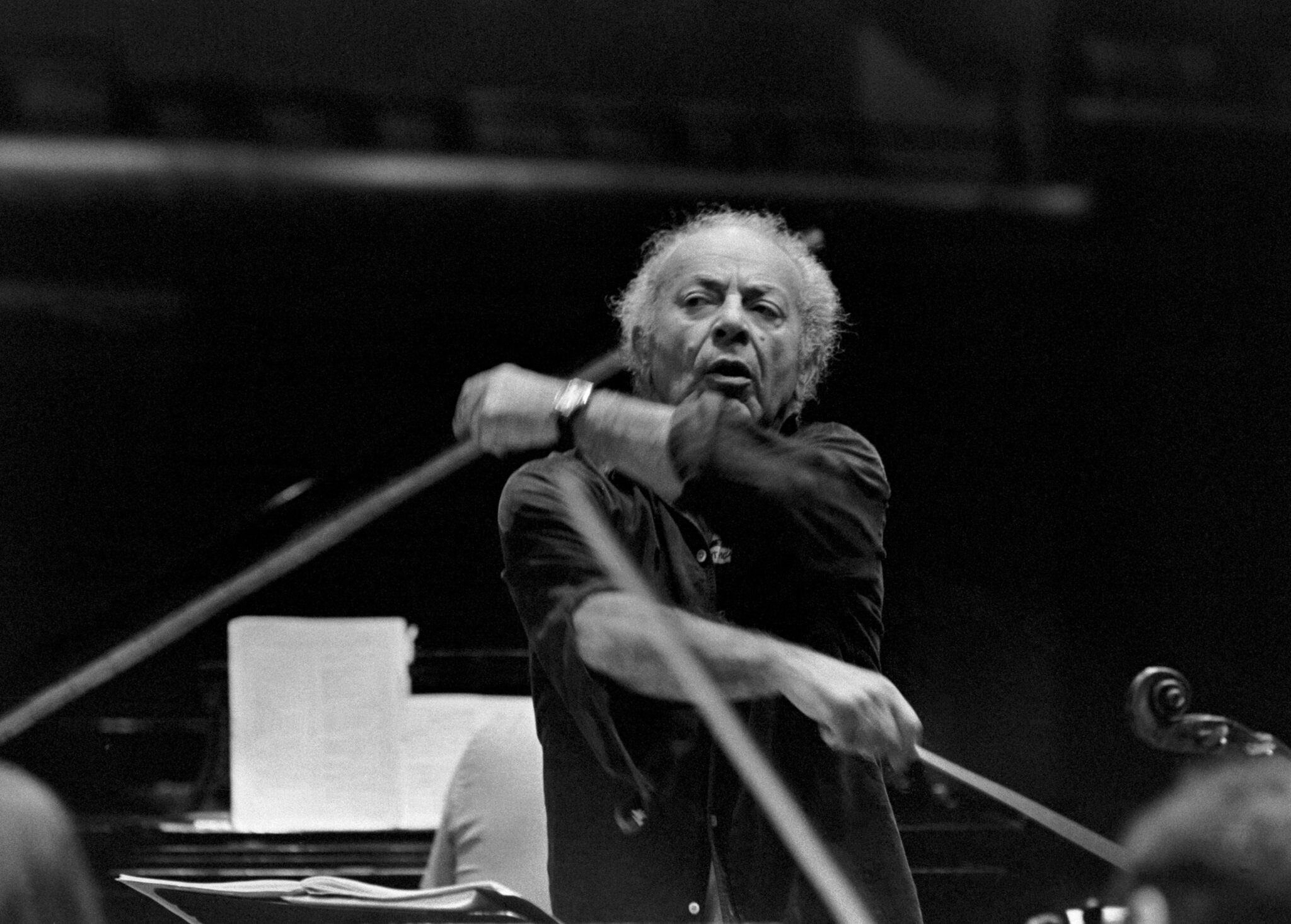 "Schneider conducts the Marlboro orchestra in 1980 | ""Sasha was interesting in his musical approach to things, in how he would conduct or how he would want people to play, always keeping it lively, always keeping it on top of the beat—always go, go, go. I think of him and I just think, lively, aggressive."" -Raymond Benner. Photo by Dorothea von Haeften."
