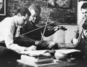 """Michael Tree and Jaime Laredo at Schneider's apartment on West 23rd Street in New York   """"Schneider had a tremendous influence amongst the strings… And the exuberance, he was incredibly energetic and got things going. He was somebody who made things happen… he was very important."""" -pianist Lilian Kallir"""