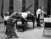 """""""It was 1974, my third summer at Marlboro, and I was thrilled to be playing with two of my heroes, the legendary pianist Mieczysław Horszowski, and the Italian virtuoso Pina Carmirelli, one of Mr. Serkin's favorite violinists. It's now 45 years later, and I still remember the Schumann F Major Trio with these two giants as one of the richest growth experiences of my musical life. Rehearsals were soft spoken, gentle, thoughtful, and relaxed in spirit and pace. Mr. Horszowski stopped frequently, fascinated by details of articulations, dynamics and constantly pointing out unexpected harmonies. Pina was a study in contrast to him—she wanted to play and play, her musical ideas blossoming intuitively from somewhere deep inside. Pina was instinctive, inspiring. She had a big, open heart, and her warmth, her humanity, radiated in every note she played. Pina was obsessed with sound, and we spent much of our rehearsal time matching each other's moods and colors. Her violin sound was thick and dark, and I was constantly inspired by its beauty and expressivity. Mieczysław Horszowski and Pina Carmirelli—these two very different artists had total respect and admiration for each other, worked easily together, and their musical approaches enhanced each other. It was always about the music and never about themselves. They exemplified Marlboro values at their very highest."""" <br>—Paul Katz 