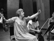 """""""Particularly for all the female string players (and this is not a sexist remark!), playing with Pina Carmirelli is a total joy as well as a shining idea. Her passion and, most of all, her power in communicating it is something to really aspire to, especially in contrast with her gentleness away from the violin."""" <br>—Ida Levin. Photo by George Dimock."""