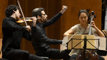 Itamar Zorman, Jonathan Biss, and Alice Yoo at Marlboro Music